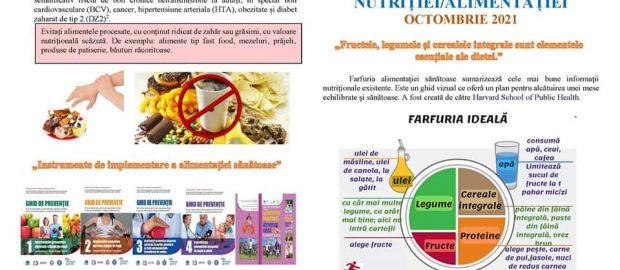 OCTOMBRIE - LUNA NAŢIONALĂ A INFORMĂRII DESPRE EFECTELE NUTRIȚIEI/ALIMENTAȚIEI